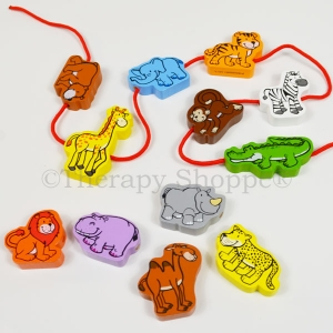 Wooden Zoo Animals Lacing Set