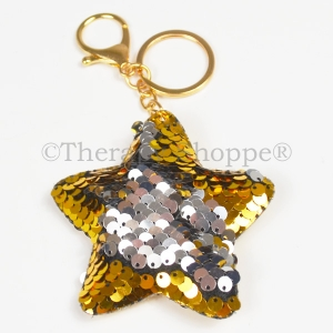 Double Sided Sequin Star or Heart Keychains